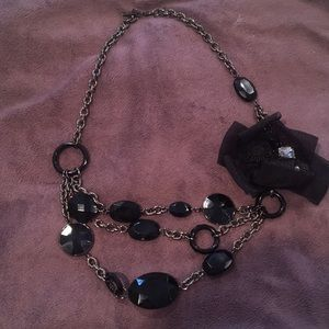 New York and Co black chunky statement necklace